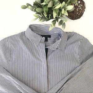 JCREW Blue White Stripe Long Sleeve Tunic Dress F3